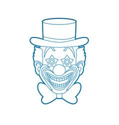 clown head smile face outline stroke vector image