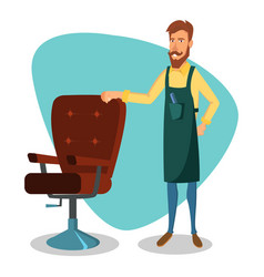 cute barber cartoon happy hipster barber vector image