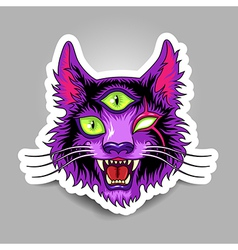 Devil cat sticker vector image