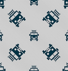 Fire engine icon sign seamless pattern with vector
