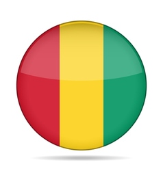 Flag of guinea shiny round button vector