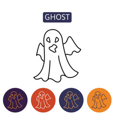 ghost cartoon halloween character vector image vector image