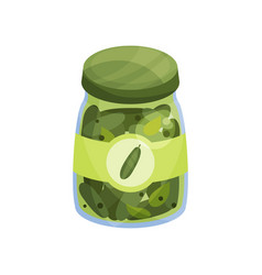 Glass jar with pickled cucmbers canned vegetables vector