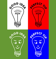 Good idea perfect tip four icons with lightbulb vector