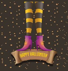 Halloween party poster with witch legs vector