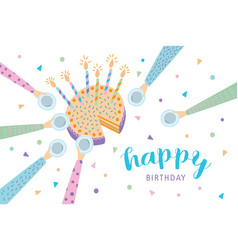 happy birthday greeting card festive cake with vector image