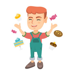 happy caucasian boy standing among lots of sweets vector image