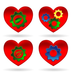 heart gear green leaf vector image