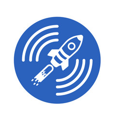 icon of a satellite rocket in a blue circle on a vector image vector image