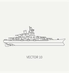 Line flat retro icon naval battleship vector