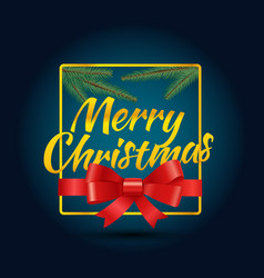 Merry christmas greeting card logo with red ribbon vector