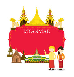 myanmar landmarks people in traditional clothing vector image