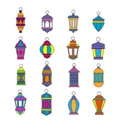 Old arabic light lamp set Muslim Ramadan lanterns vector image vector image