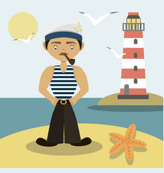 Sailor with a pipe and a lighthouse vector