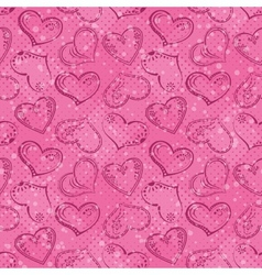 Seamless background Valentine hearts vector image vector image