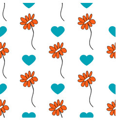 seamless pattern with cute doodle flower vector image vector image