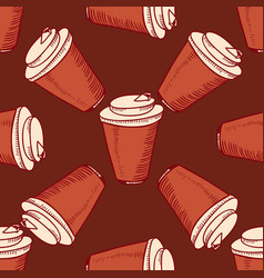 Seamless pattern with hand drawn cups vector