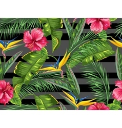 Seamless pattern with tropical leaves and flowers vector image vector image