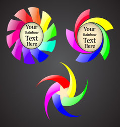 Set of the abstract rainbow spiral signs with your vector