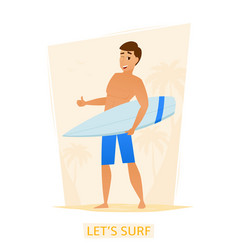 Surfer with surf board on the beach vector