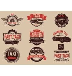 Taxi service labels and emblems template taxi vector