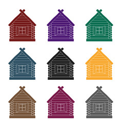 wooden house icon in black style isolated on white vector image