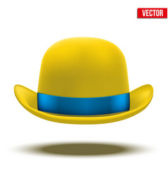 Yellow bowler hat on a white background vector