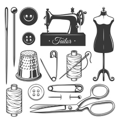 Set of vintage monochrome tailor tools vector