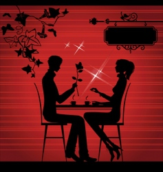 Two lovers in the cafe vector