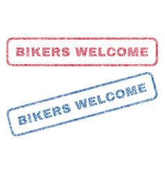 Bikers welcome textile stamps vector