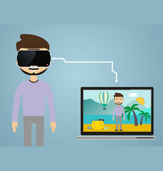 Virtual reality concept in flat style vr gaming vector