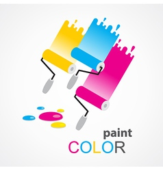 Paint roller colorful vector