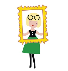 Fashionable girl with gold frame vector