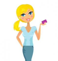 Blond woman with credit card vector