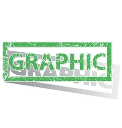 Green outlined graphic stamp vector