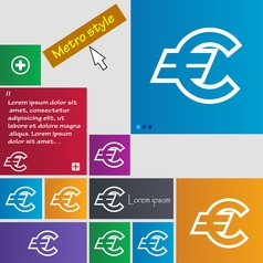Euro eur icon sign buttons modern interface vector