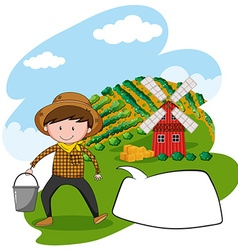 Farmer working in the farmland vector image