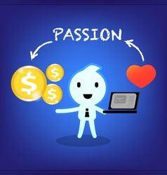 Businessman working with passion vector