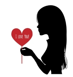 Black silhouette of woman with heart in hand vector