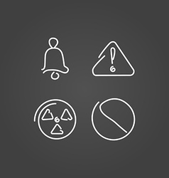 Danger and alarm set icons draw effect vector