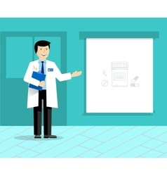 Doctor with banner or projection screen giving vector