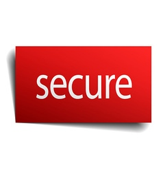 Secure red paper sign isolated on white vector