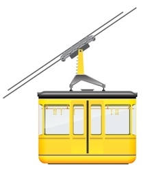 Yellow cableway in high mountains at winter season vector