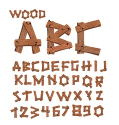Wood font Old boards alphabet Wooden planks with vector image