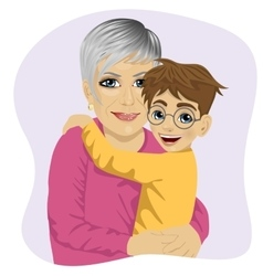 Grandmother hugging her cute grandson vector