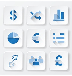 Business financial flat icons set vector