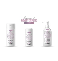 Harmony cosmetic brand template packaging set vector