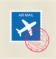 air mail blue stamp with plane symbol and red vector image vector image