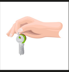 Arm holds bunch of keys by key ring vector