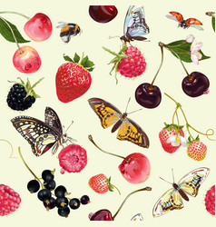 Berry butterfly seamless pattern vector image